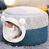 Unbne Plüsch-Katzen Betten, 2 in 1 Pet Bed and Cave Warmer Winter Kennel Schöne Bett Sofakissen,S