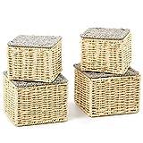 EZOWare 4er Set Aufbewahrungskörben aus gewebtem Papierseil, Mehrzweck-Organisationsboxen mit...