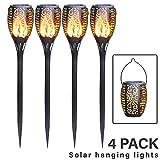 FLOWood Solar Gartenfackel realistischer Flammeneffekt 2 in 1 Solar Hngeleuchte fr Garten Solar...