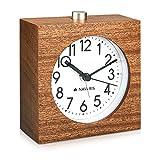 Navaris Analog Holz Wecker mit Snooze - Retro Uhr im Viereck Design mit Ziffernblatt Alarm - Leise...