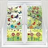 69 Stück Fensterbilder Frühling Selbstklebend, Schöne Fensterbilder Schmetterlinge,...