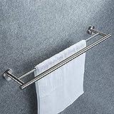 Doppelter Handtuchhalter, Dailyart Badezimmer Handtuchstange Bad Ohne Bohren für Wandmontage 70cm...