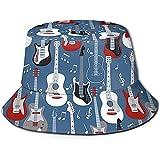 Tracray Eimer Hut Packable Reversible Rock'n'Roll Gitarren Print Sonnenhut Fischer Hut Cap Outdoor...