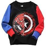 Superhelden-Sweatshirt für Jungen und Mädchen, mit Pailletten, langärmelig, Baumwolle, 3–8...