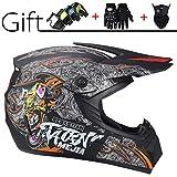 GZMUS Full Face Motocross Helm Mit Schutzbrille Handschuhe Maske Unisex Adult Off Road Helm...