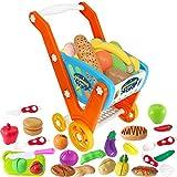 Einkaufswagen für Kinder, 33 Stück Kaufladen Zubehör Set mit Lebensmittel Spielzeug und Schneiden...