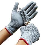 Biluer 2 Paare Schnittfeste Handschuhe Extra Starker Level 5 Sicherheitshandschuhe Arbeitshandschuhe...
