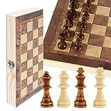 JTWEB Schachspiel Schach Schachbrett Holz,Klappbar Reiseschach Schachbrett für Familie Geschenk...