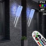 2er Set RGB LED Fackel Wand Lampen Fassaden FERNBEDIENUNG Edelstahl Außen Strahler Leuchten dimmbar