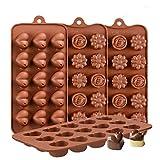 KBstore 4 Stück Silikon Schokoladenform Pralinenform - Herzform und Blumenform Silikonform für...