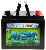 Electronicx 30Ah AGM Batterie Rasentraktor Aufsitzmäher Batterie Starterbatterie 12V Akku Batterie...