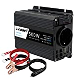 LVYUAN 500W Wechselrichter DC 12 V auf 230V AC Spannungswandler Auto Konverter 12 V mit Dual USB...