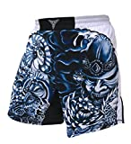 The Ronin – Masterless Samurai- MMA BJJ Wrestling Fight Shorts – Weiß - Blau - Erwachsene...