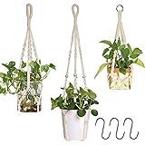 AceList Makramee Blumenampel, Pflanzen Aufhänger für Innen Außen Balkon Gartendekor, 3er Set...