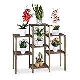 Relaxdays Blumentreppe Holz, Shabby, Innenbereich, Wohnzimmer, Pflanzenregal stehend, 7 Ablagen, HBT...