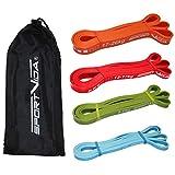 Fitnessbänder Set und Klimmzugbänder Gummi. Wiederstands bänder. Trainingsbänder Kraftsport -...