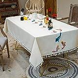 TWYYDP Tischdecken Tischwäsche Rechteckig Stickerei 3D Färbte Fische,Baumwolle Und Leinen Mit...