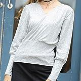 Für Sweater CMF Sexy V-Ausschnitt Laterne Hülsen-Normallack Pullover, Größe: L (Grau) (Color :...