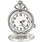 Klassische Taschenuhr aus Stahl mit kurzer Kette für Männer und Frauen – Geschenk zum Geburtstag...