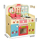 DRHYSFSA Kinderkche Strawberry Kche Holz Pretend Play Toy Kche Herd Kinderkochrollenspiele Spielzeug...