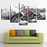 IIIUHU 5 Stück Leinwanddrucke HD-Panel Wand Aufhängen Bilder Mit Rahmen Klassisches Harley...