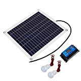 QWERTOUR 4 in1Solar-Panel 50W18V Solarzelle + 10A USB-Controller + 2ST 3W 12V LED-Licht...