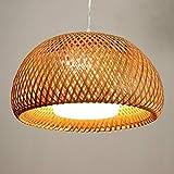 CSSYKV American Retro Bambus Kronleuchter Creative Dome Bambus Gewebte Lampe Mit Glas Lampenschirm...