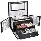 FEMOR Schmuckkastchen abschließbar Schmuckkoffer mit 3 Schubladen Kosmetikkoffer mit...