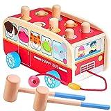 Vanplay Klopfbank Holz Hammerspiel für Kinder ab 2 Jahre, 3 in 1 Ziehen Entlang Bus Spielzeug...