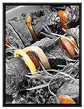 Pixxprint Schaschlik mit Zwiebeln und Tomaten Leinwandbild 80x60 cm im Bilderahmen   Wandbild  ...