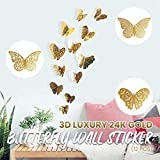 Lukame 3D Schmetterling Wandaufkleber,12 Stück Diy Luxus 24K Gold Silber Schmetterling Metall...