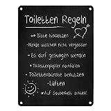 trendaffe Toilettenregeln Blechschild in 15x20 cm - Metallschild Dekoschild