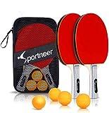 Sportneer Tischtennisschlaeger Set, Tischtennis Set- 2 Premium Pingpong schläger und 4...