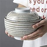 S2F5 Keramik Suppenschüssel mit Deckel und Griff Instant-Nudel-Schüssel Obstsalat Reis Gedämpfter...