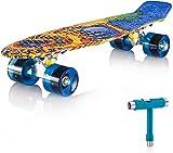 Newdora Skateboard 22' kompletter Mini Cruiser Komplettboard mit Buntem LED-Lichtrad fr Kinder,...