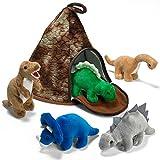 Prextex Dinosaurier VulkanHaus mit 5 Plüsch Dinosauriern Super Kinder