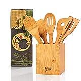 bambuswald© ökologisches 6er Set Küchenzubehör inkl. Aufbewahrungsbox   Kochbesteck aus 100%...