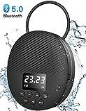 AGPTEK Bluetooth 5.0 Lautsprecher IPX5 Duschradio mini mit LED Digitalem Bildschirm, Saugnapf,...