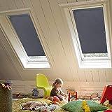 KINLO Dachfenster Sonnenschutz Dunkelgrau Thermo Dachfensterrollo Verdunkelungsrollo für Velux...