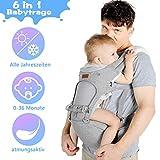 Lictin Babytrage Bauchtrage 3,5-20kg für Neugeborene 6 in 1 Ergonomische Baby Trage für alle...