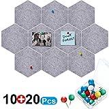 10 Packungen Pinnwand Hexagon Filz Pinnwand Fliesen Pinnwand Memoboard mit 20 Stück Pinnwandnadeln,...