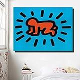 JNZART Keith Haring Pop Art Leinwanddruck Cartoon Ölgemälde für Wohnzimmer Bedroon Leinwand...