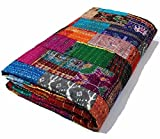 Manglam Arts Patchwork-Tagesdecke, Queen Size, Seide, 228,6x 274,3cm