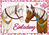 10 Pferde-Einladungen (Set 1) / Geburtstagseinladungen Kinder Mädchen Jungen: 10-er Set liebevoll...