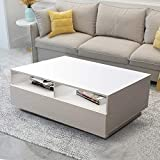 Wohnzimmer Couchtisch LED Hochglanz Wohnzimmertisch mit 4 Schubladen Kaffeetisch Beistelltisch...