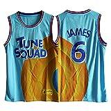 ZYJL James Herren Trikot Space Jam Basketball Jersey - Nr. 6 James Blau Fan Westen Sport Tops...