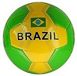 Fußball Brasilien mit brasilianischer Flagge Größe 5 Farbe Grün / Gelb