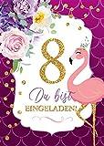 JuNa-Experten 6 Einladungskarten zum 8. Kindergeburtstag Mädchen Flamingo Einladungen zum achten...