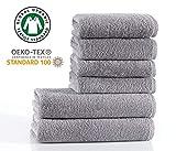 Seventex Reines Organisches gis Baumwolle 6 Stck Handtuch Set, 2 Badetcher, 4 Handtcher, Bio...