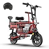 KT Mall Elektro-Bike für Eltern-Kind mit 48V 8A Lithium-Batterie E-Bikes mit Baby-Sitz und große...